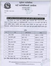 प्रारम्भिक योग्यताक्रमको आधारमा छोटो सूची(Short List) प्रकाशित गरिएको सम्बन्धमा ।